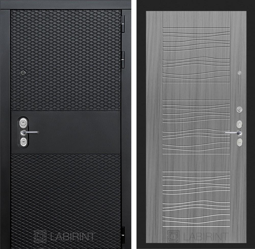 Входная металлическая дверь Лабиринт Black 6 (Чёрный кварц / Сандал серый)