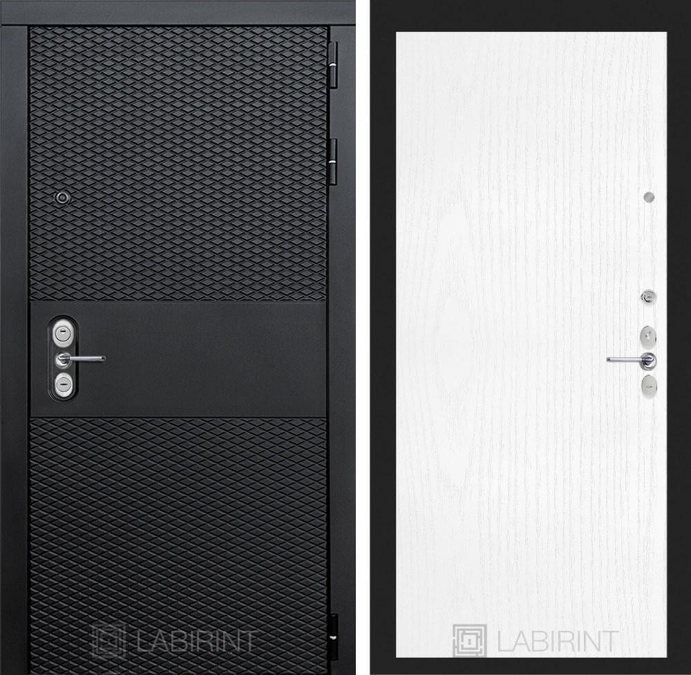 Входная металлическая дверь Лабиринт Black 7 (Чёрный кварц / Белое дерево)