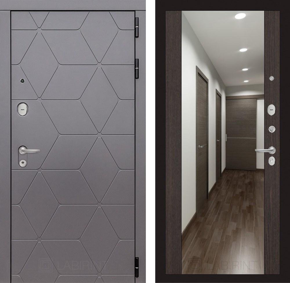 Входная металлическая дверь Лабиринт Cosmo Зеркало Максимум (Графит / Венге)