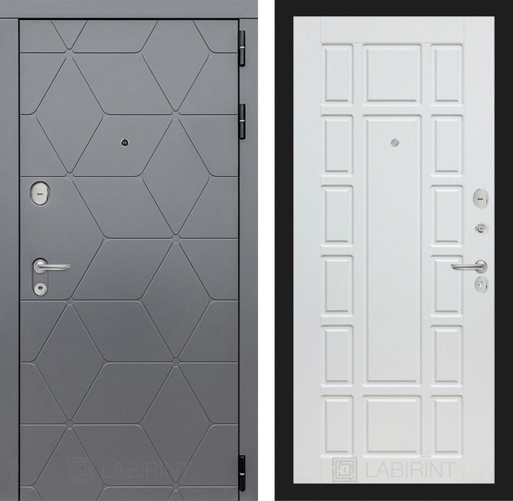 Входная металлическая дверь Лабиринт Cosmo 12 (Графит / Белое дерево)