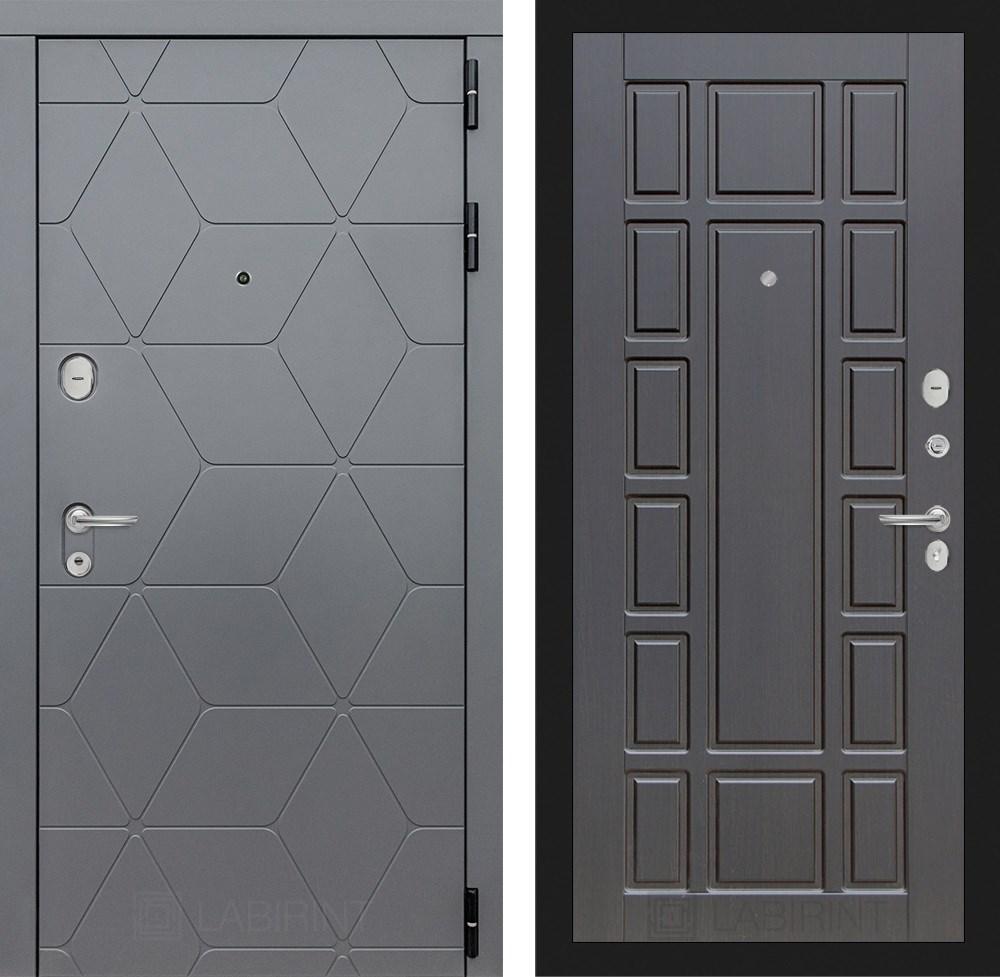 Входная металлическая дверь Лабиринт Cosmo 12 (Графит / Венге)
