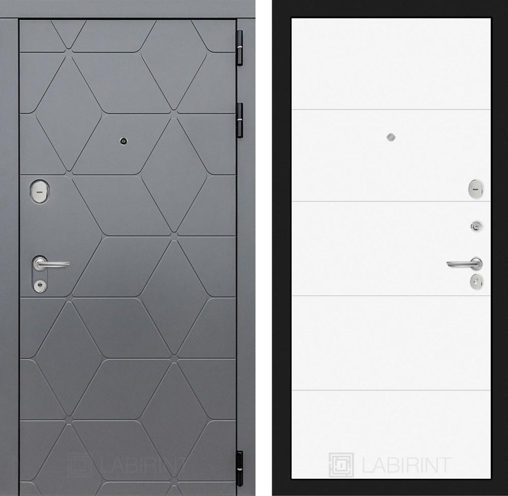 Входная металлическая дверь Лабиринт Cosmo 13 (Графит / Белый софт)