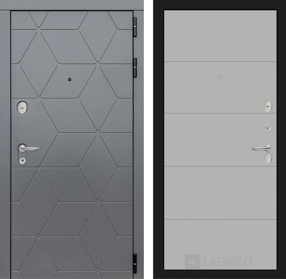 Входная металлическая дверь Лабиринт Cosmo 13 (Графит / Грей софт)