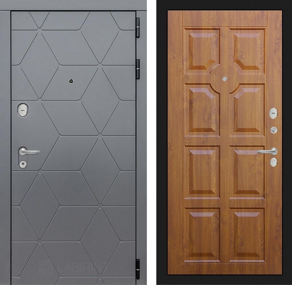 Входная металлическая дверь Лабиринт Cosmo 17 (Графит / Золотой дуб)