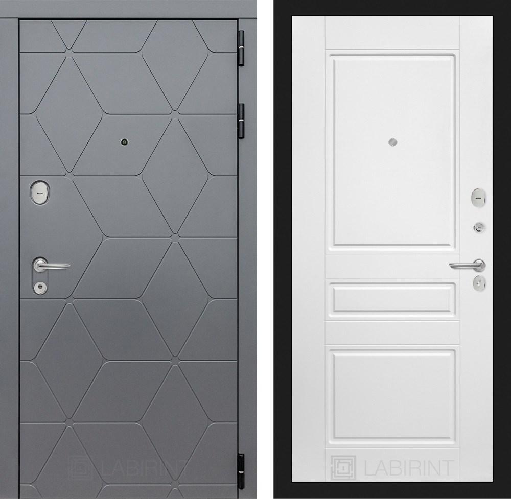 Входная металлическая дверь Лабиринт Cosmo 3 (Графит / Белый софт)
