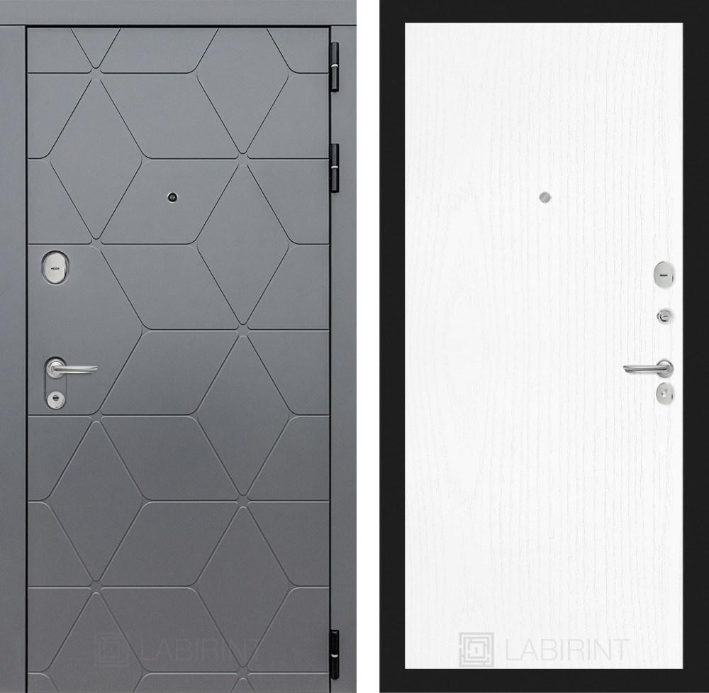 Входная металлическая дверь Лабиринт Cosmo 7 (Графит / Белое дерево)