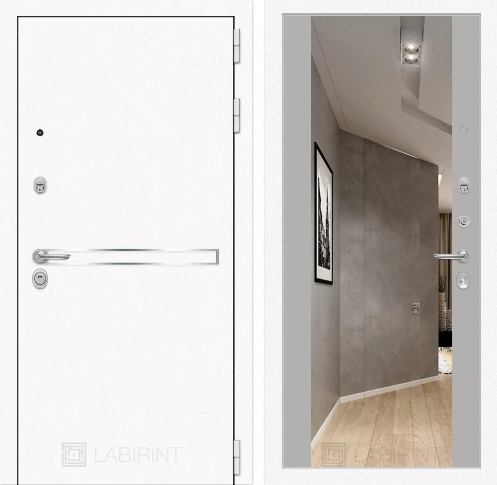 Входная металлическая дверь Лабиринт Line White с Зеркалом Максимум (Шагрень белая / Грей софт)