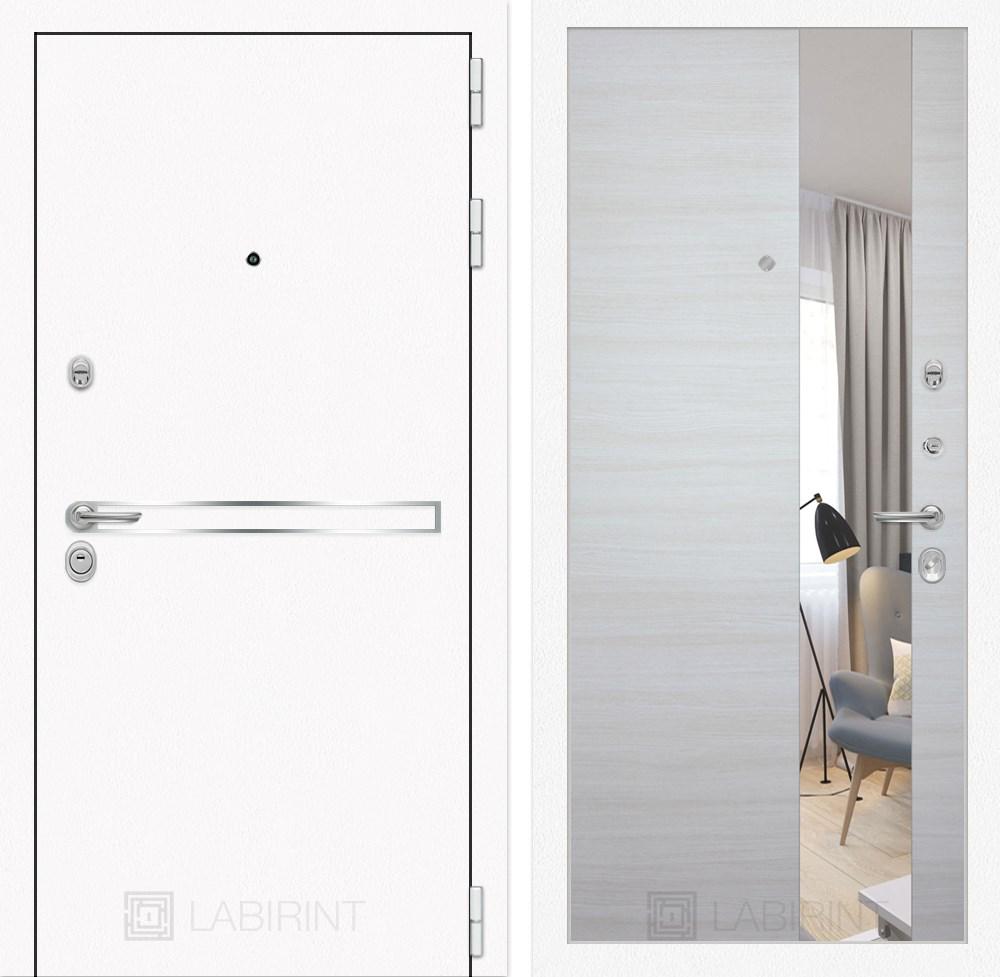 Входная металлическая дверь Лабиринт Line White с Зеркалом (Шагрень белая / Акация светлая)