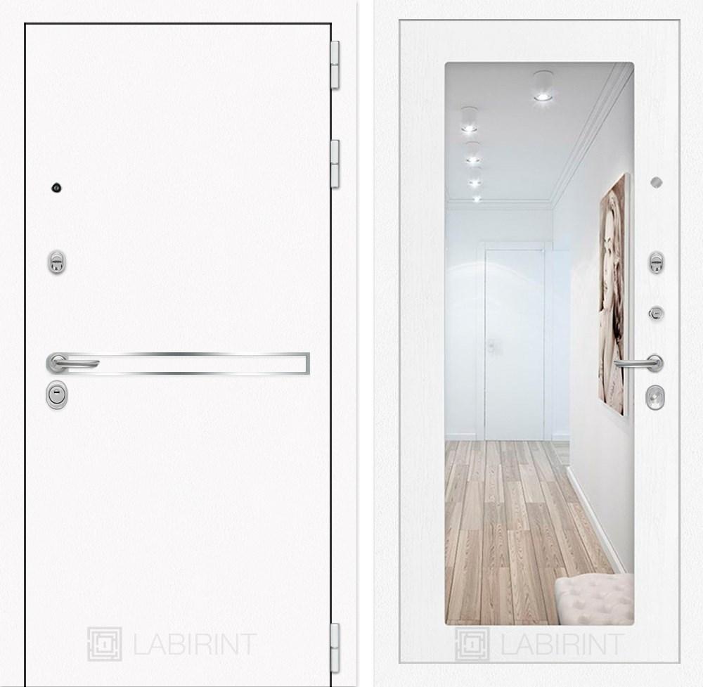 Входная металлическая дверь Лабиринт Line White с Зеркалом 18 (Шагрень белая / Белое дерево)