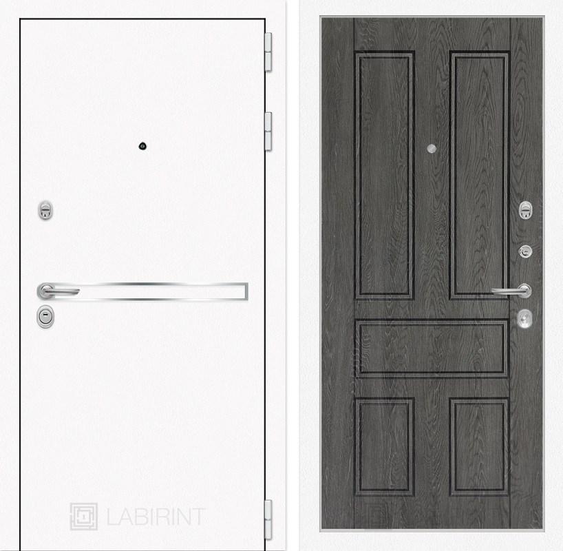 Входная металлическая дверь Лабиринт Line White 10 (Шагрень белая / Дуб филадельфия графит)