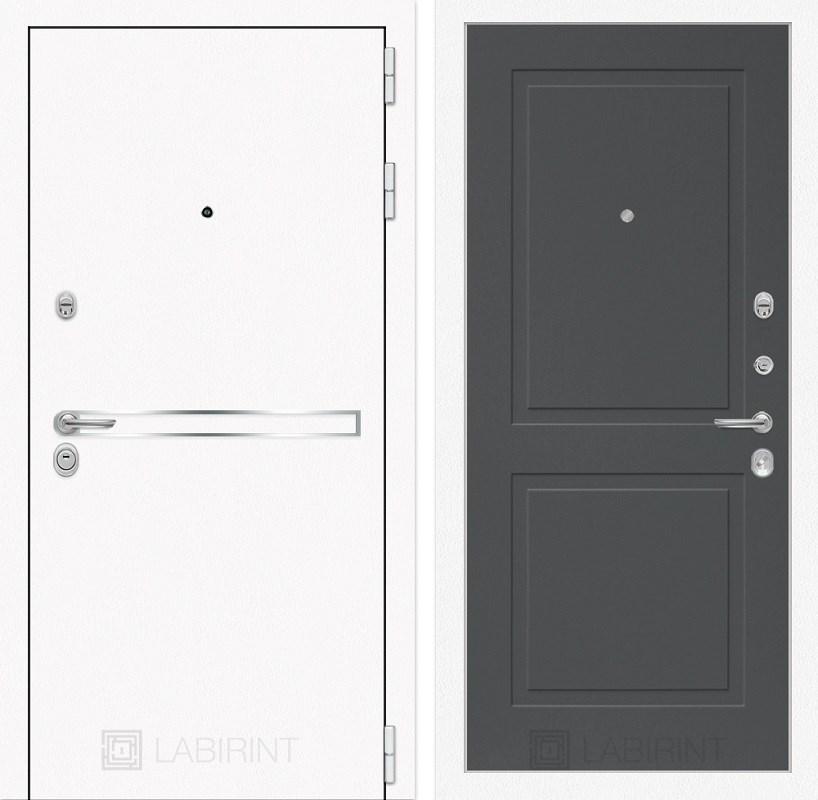 Входная металлическая дверь Лабиринт Line White 11 (Шагрень белая / Графит софт)