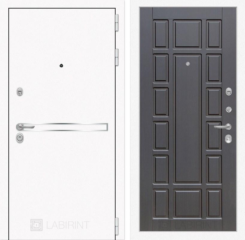 Входная металлическая дверь Лабиринт Line White 12 (Шагрень белая / Венге)