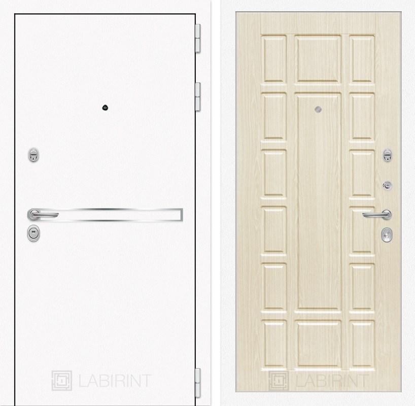 Входная металлическая дверь Лабиринт Line White 12 (Шагрень белая / Дуб беленый)