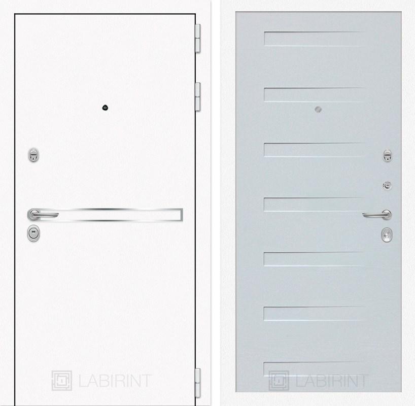 Входная металлическая дверь Лабиринт Line White 14 (Шагрень белая / Дуб кантри белый)