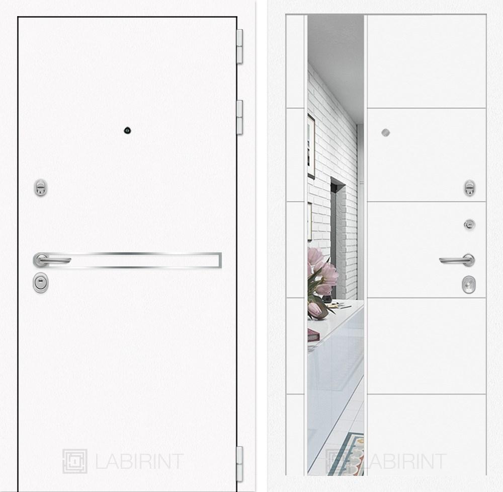 Входная металлическая дверь Лабиринт Line White 19 Зеркало (Шагрень белая / Белый софт)