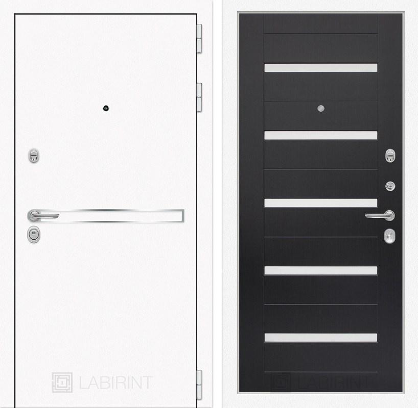 Входная металлическая дверь Лабиринт Line White 1 (Шагрень белая / Венге)