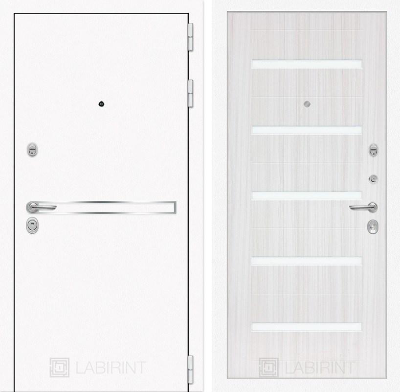 Входная металлическая дверь Лабиринт Line White 1 (Шагрень белая / Сандал белый)