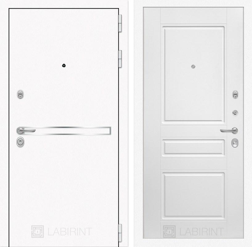 Входная металлическая дверь Лабиринт Line White 3 (Шагрень белая / Белый софт)