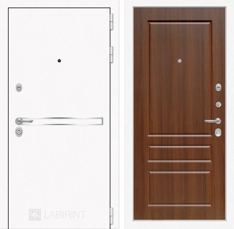 Входная металлическая дверь Лабиринт Line White 3 (Шагрень белая / Орех бренди)