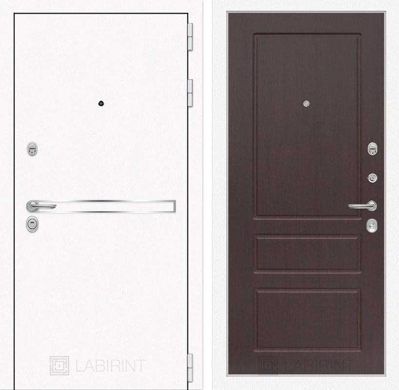 Входная металлическая дверь Лабиринт Line White 3 (Шагрень белая / Орех премиум)