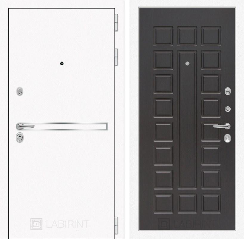 Входная металлическая дверь Лабиринт Line White 4 (Шагрень белая / Венге)