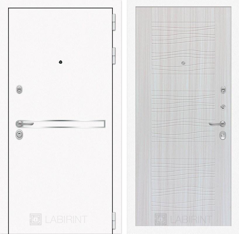 Входная металлическая дверь Лабиринт Line White 6 (Шагрень белая / Сандал белый)