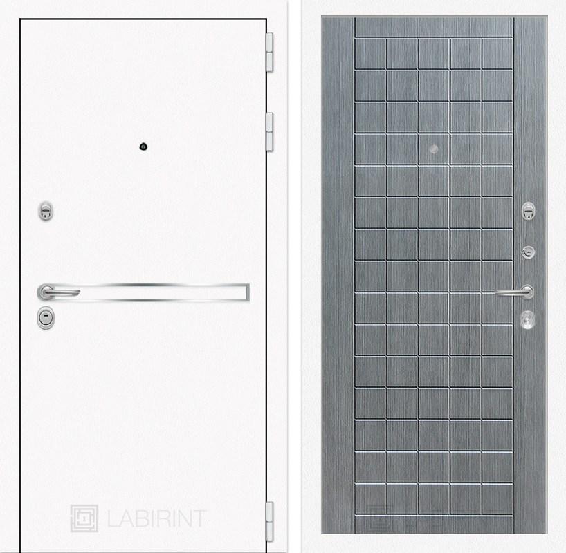 Входная металлическая дверь Лабиринт Line White 9 (Шагрень белая / Лен сильвер грей)