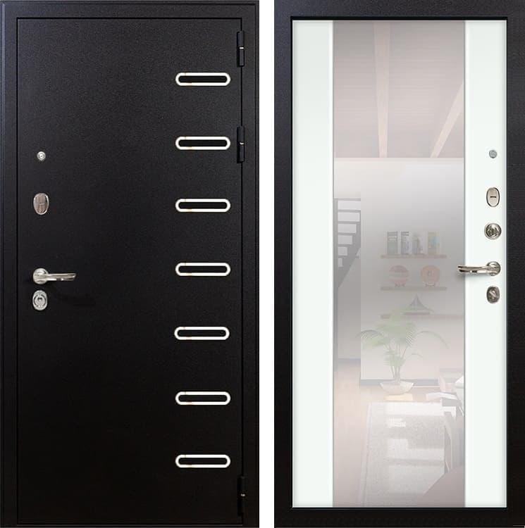 Входная металлическая дверь Лекс Витязь Стиль с Зеркалом Ясень белый (панель №61)