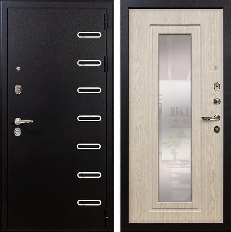 Входная металлическая дверь Лекс Витязь с Зеркалом Белёный дуб (панель №23)