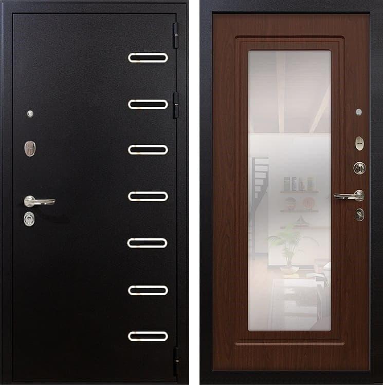Входная металлическая дверь Лекс Витязь с Зеркалом Береза мореная (панель №30)