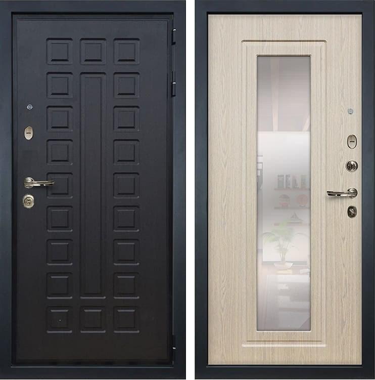 Входная металлическая дверь Лекс Гладиатор 3К с Зеркалом Дуб беленый (панель №23)