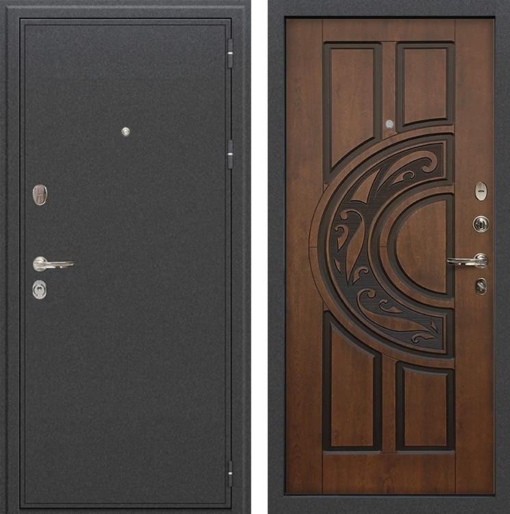 Входная металлическая дверь Лекс Колизей Голден патина черная (панель №27)