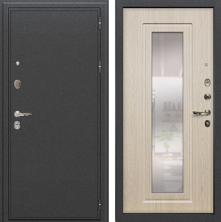 Входная металлическая дверь Лекс Колизей с Зеркалом Дуб беленый (панель №23)