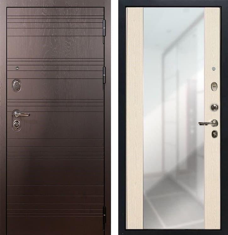 Входная металлическая дверь Лекс Легион Стиль с Зеркалом Белёный дуб (панель №45)