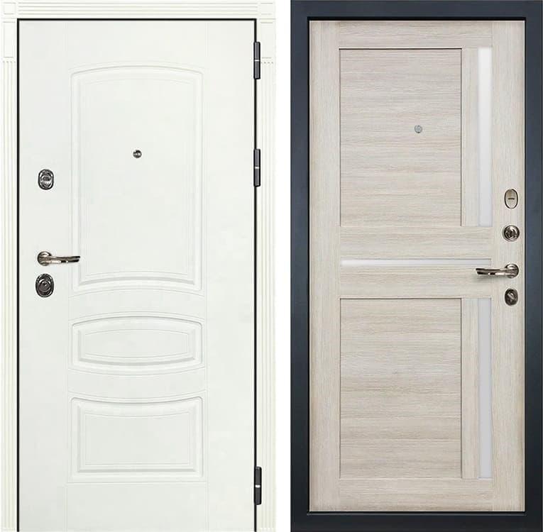 Входная металлическая дверь Лекс Сенатор 3К Шагрень белая Баджио (№49 Ясень кремовый)