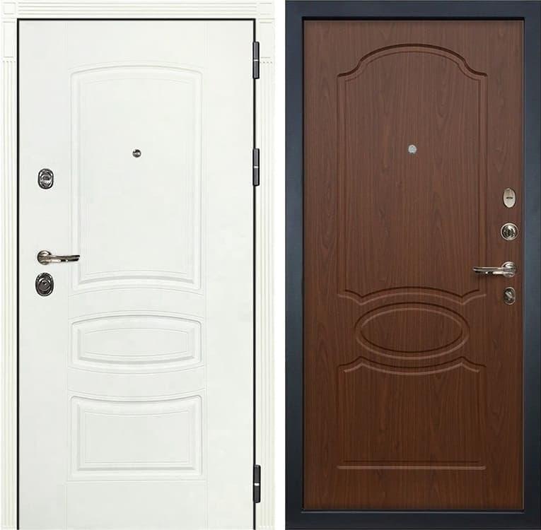 Входная металлическая дверь Лекс Сенатор 3К Шагрень белая (№12 Береза мореная)