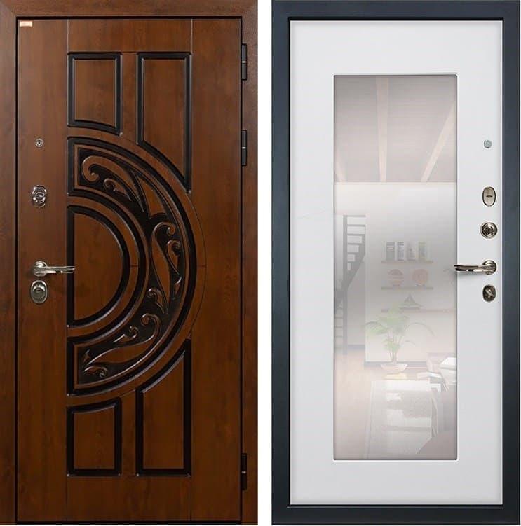 Входная металлическая дверь Лекс Спартак Cisa с Зеркалом Ясень белый (панель №37)