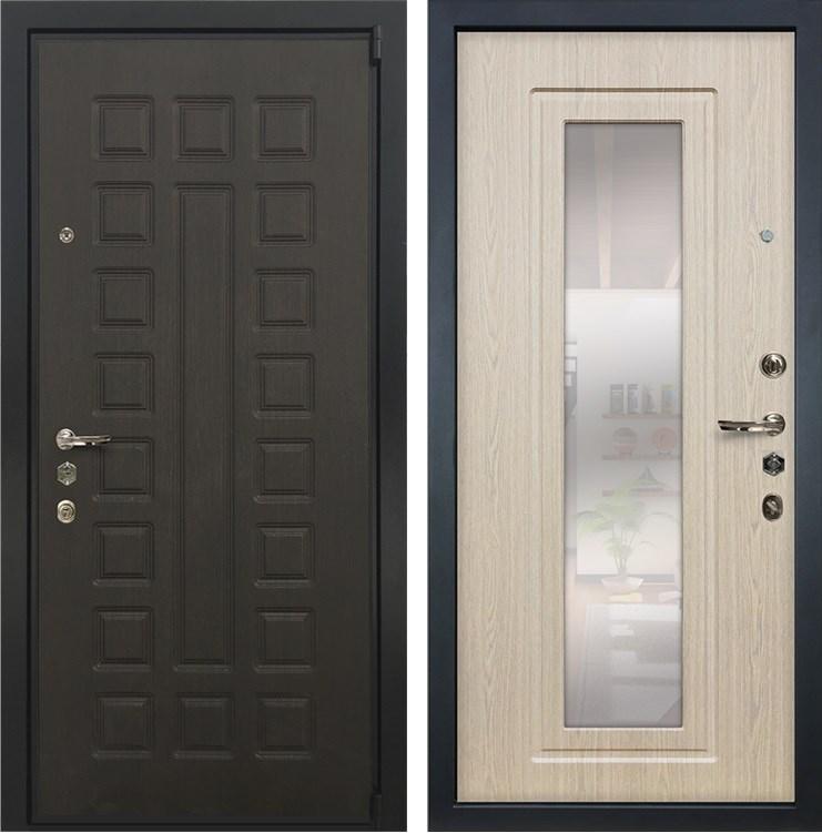 Входная металлическая дверь Лекс 4А Неаполь Mottura с Зеркалом Беленый дуб (панель №23)