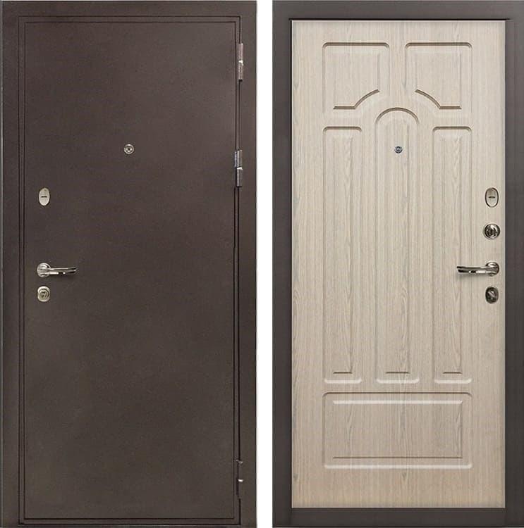 Входная металлическая дверь Лекс 5А Цезарь Беленый дуб (панель №25)