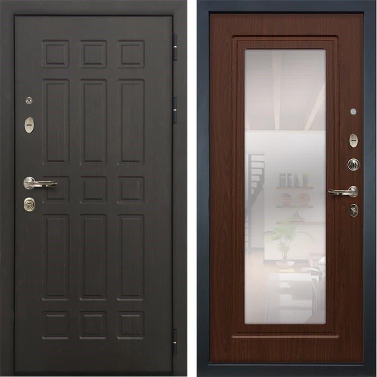 Входная металлическая дверь Лекс 8 Сенатор с зеркалом Береза мореная (панель №30)