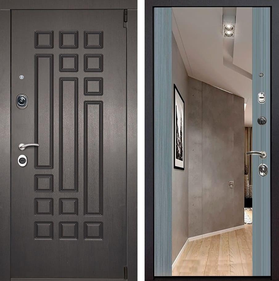 Входная металлическая дверь Милан Зеркало Премиум (Венге патина / Сандал серый)