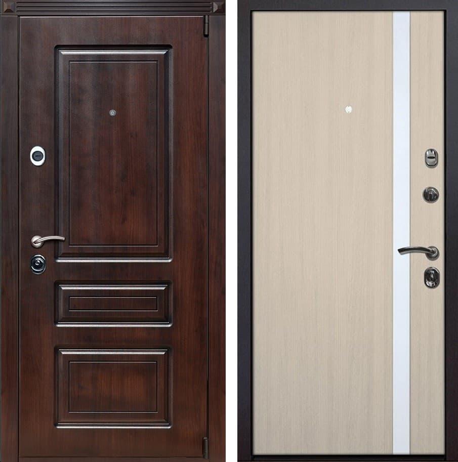 Входная металлическая дверь Неаполь Z6 (Вишня тёмная / Капучино)