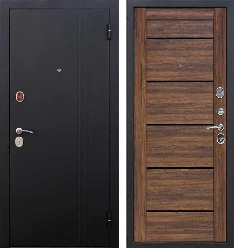 Входная металлическая дверь Нью-Йорк (Черный муар / Дуб санремо темный)