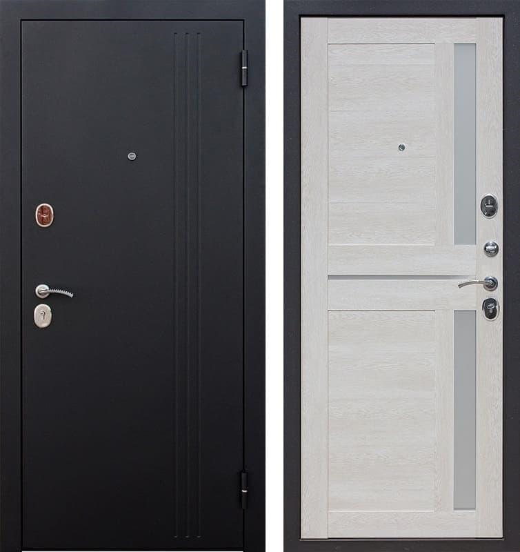 Входная металлическая дверь Нью-Йорк (Черный муар / Каштан перламутр)