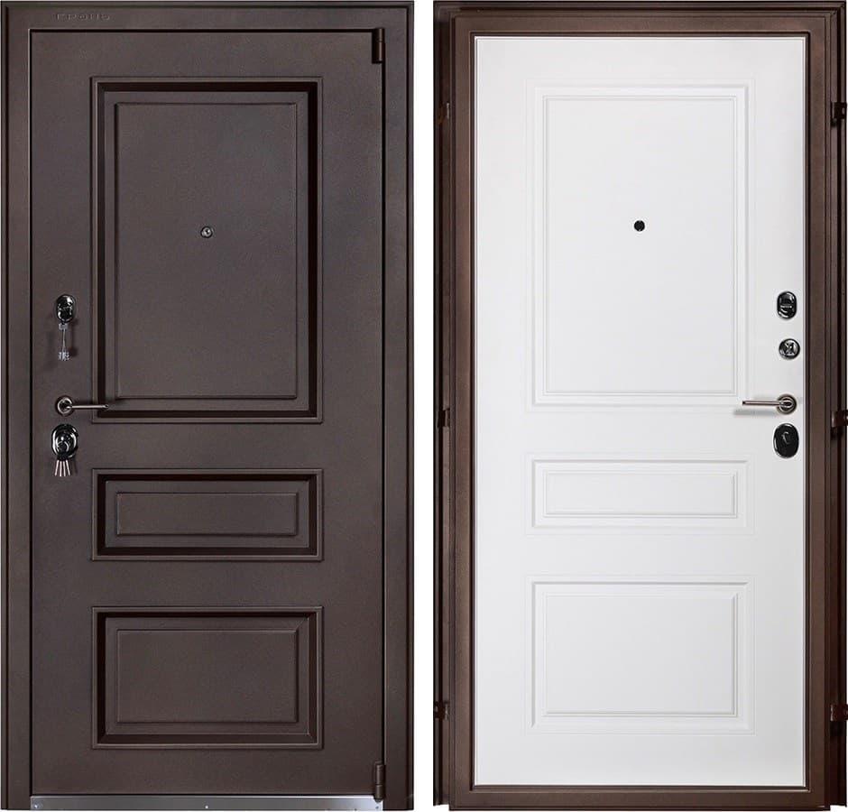Входная металлическая дверь Райтвер Прадо (Муар шоко / Белый)