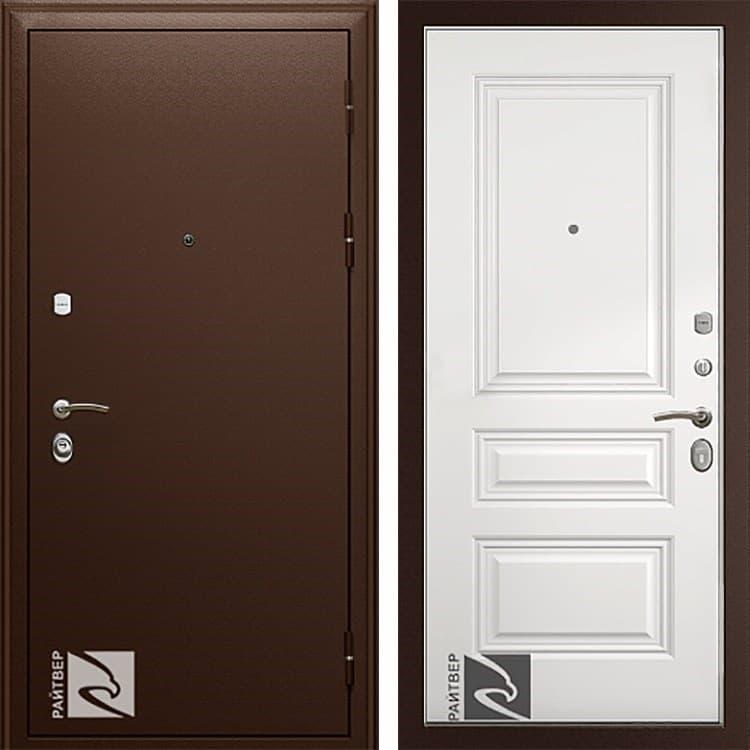Входная металлическая дверь Райтвер Премьер Трио Грейс (Медный антик / Белая эмаль)