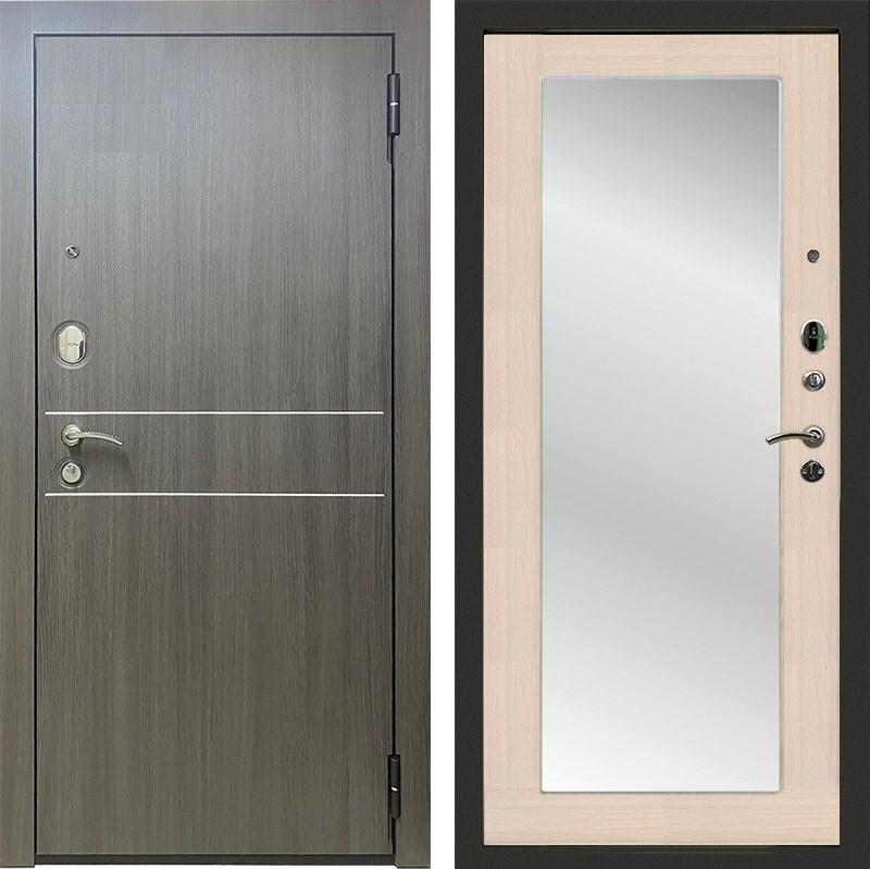 Входная металлическая дверь Райтвер Сидней Зеркало Максимум (Дуб Грей / Лиственница Белая)