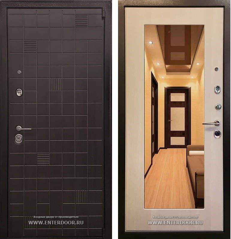 Входная металлическая дверь Ратибор Силуэт 3К с Зеркалом (ЭкоВенге / Экодуб)
