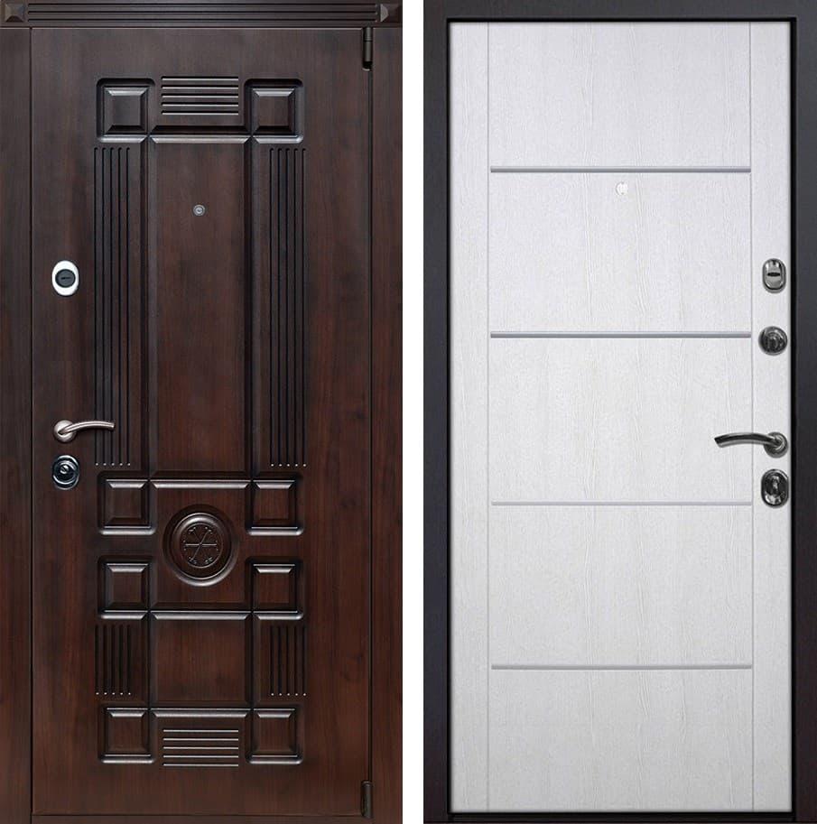 Входная металлическая дверь Рим Молдинг (Тёмная вишня / Белая патина)