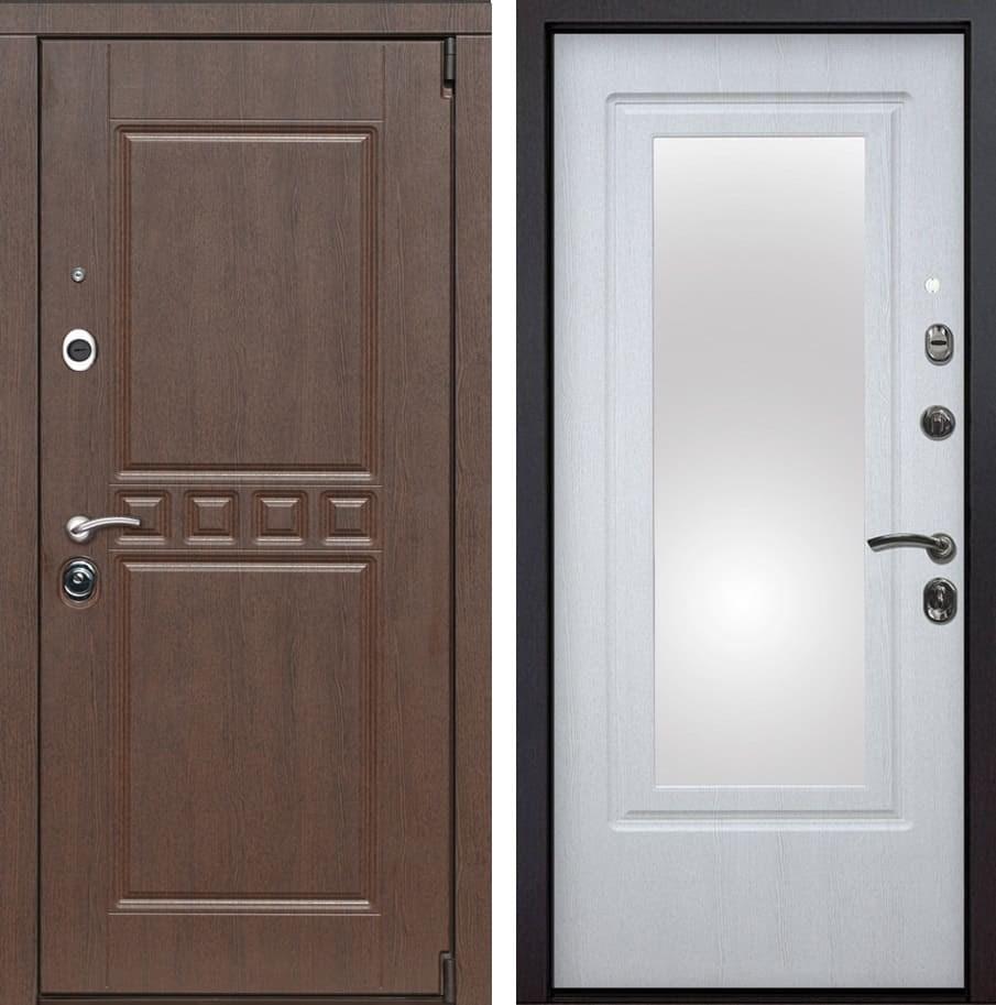Входная металлическая дверь Сарбона Зеркало (Орех патина / Белая патина)